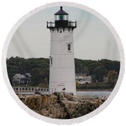 Fort Constitution Light Round Beach Towel