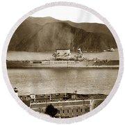U. S. S. Lexington Cv-2 Fort Point Golden Gate San Francisco Bay California 1928 Round Beach Towel
