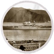 U. S. S. Lexington Cv-2 Fort Point Golden Gate San Francisco Bay California 1928 Round Beach Towel