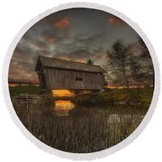 Foster Covered Bridge Sunset Round Beach Towel
