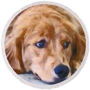 Golden Retriever Dog Round Beach Towel