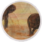 Round Beach Towel featuring the painting  Hey Wait For Us by Stephanie Grant