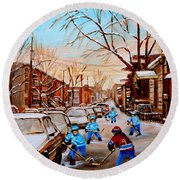 Hockey Art- Verdun Street Scene - Paintings Of Montreal Round Beach Towel