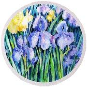Irises  Round Beach Towel by Trudi Doyle