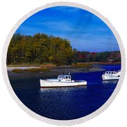 Kennnepunkport Harbor  Maine  Round Beach Towel
