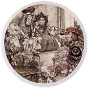 Knave Before The King And Queen Of Hearts Illustration To Alice S Adventures In Wonderland Round Beach Towel