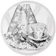 Lace With Cup Round Beach Towel