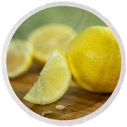 Lemon Citrus Limon Zitronen Round Beach Towel
