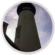 Round Beach Towel featuring the photograph  Light House Sky by Susan Garren