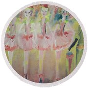 Round Beach Towel featuring the painting  Madams Quadrille Ballet  by Judith Desrosiers