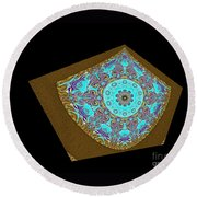 Magnitude. Black Blue And Gold Design Round Beach Towel by Oksana Semenchenko