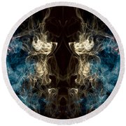 Minotaur Smoke Abstract Round Beach Towel