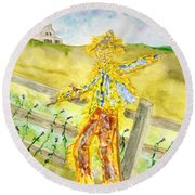 Napping Scarecrow Round Beach Towel