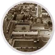 Neptune Beach Olympic Size Swimming Pool And A Roller Coaster Alameda Circa 1920 Round Beach Towel