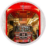 New York Fire Department Engine 14 Round Beach Towel by Luciano Mortula