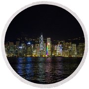 Night View Of Hong Kong Victoria Harbour  Round Beach Towel