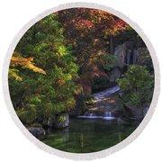 Nishinomiya Japanese Garden - Waterfall Round Beach Towel
