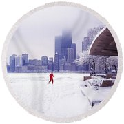 North Ave Beach Chess Palv Chicago Lake Front  Round Beach Towel