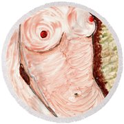 Round Beach Towel featuring the painting  Nude Female Torso by Joan Reese