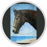 Original Animal Oil Painting Art-horse-04 Round Beach Towel by Hongtao     Huang