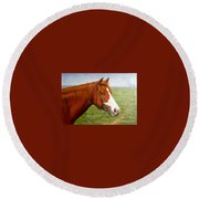 Original Animal Oil Painting Art-horse-06 Round Beach Towel by Hongtao     Huang