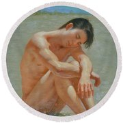 Original Classic  Oil Painting Gay Man Body Art Male Nude #16-2-5-44 Round Beach Towel by Hongtao     Huang