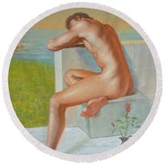 Original Classic Oil Painting Man Body Art  Male Nude And Vase #16-2-4-09 Round Beach Towel