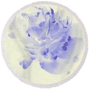 Paeony - Shadow In Blue Round Beach Towel