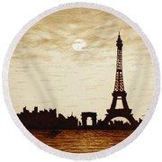 Paris Under Moonlight Silhouette France Round Beach Towel