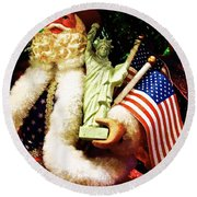 Round Beach Towel featuring the photograph  Patriotic Santa by Joan Reese