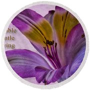 Peruvian Lily With Scripture Round Beach Towel
