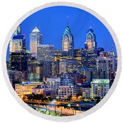 Round Beach Towel featuring the photograph  Philadelphia Skyline At Night Evening Panorama by Jon Holiday