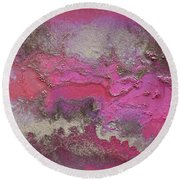 Pink And Gold Abstract Painting Round Beach Towel