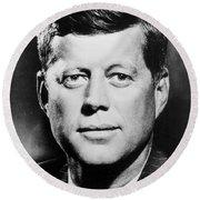Portrait Of John F. Kennedy  Round Beach Towel