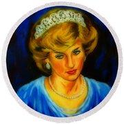 Portrait Of Lady Diana Round Beach Towel