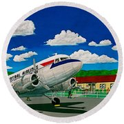 Portsmouth Ohio Airport And Lake Central Airlines Round Beach Towel by Frank Hunter