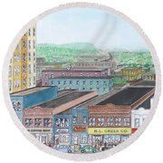 Portsmouth Ohio Dime Store Row 4th To 5th Round Beach Towel by Frank Hunter