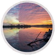 River Glows At Sunrise Round Beach Towel