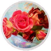 Roses 4 Lovers  Round Beach Towel