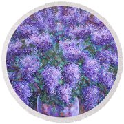 Round Beach Towel featuring the painting  Scented Lilacs Bouquet by Natalie Holland