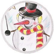 Snowmans  Stardom Round Beach Towel by Teresa White