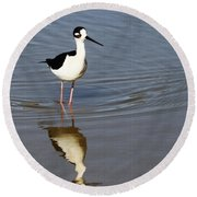 Stilt Looking At Me Round Beach Towel by Tom Janca
