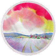 Sunset On The Lavender Farm Round Beach Towel