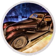Round Beach Towel featuring the photograph  Talbot Lago 1937 Car Automobile Hdr Vehicle  by Paul Fearn