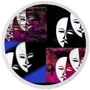 Thalia And Melpomene Round Beach Towel