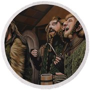 The Hobbit And The Dwarves Round Beach Towel