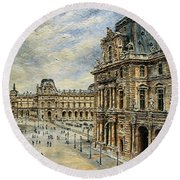 The Louvre Museum Round Beach Towel by Joey Agbayani