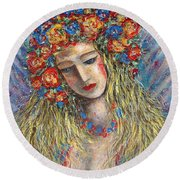 The Loving Angel Round Beach Towel by Natalie Holland