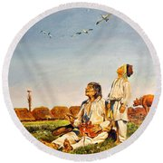 Round Beach Towel featuring the painting End Of The Summer- The Storks by Henryk Gorecki