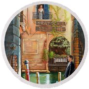 Thinking Of You Trattoria Sempione San Marco 578 Venezia Round Beach Towel